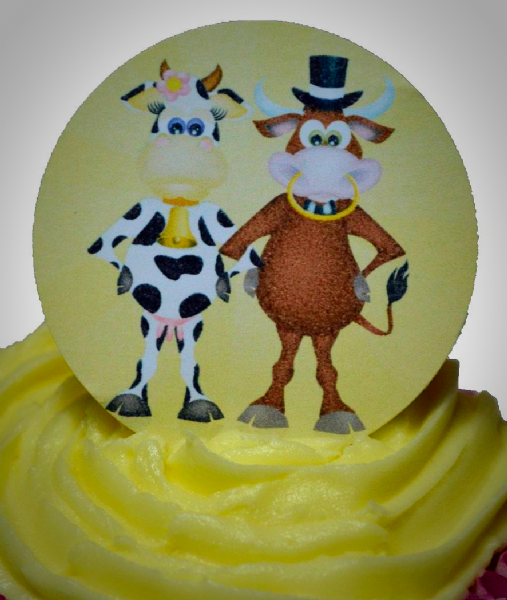 Edible cake toppers decoration - Wedding cows